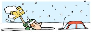 Cartoon of a person digging their car out of the snow.