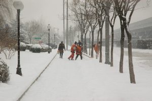 Workers in Winter frequently have to shovel snow.