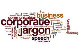Corporate jargon word cloud concept
