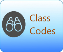Picture of a binocular with the words class codes.